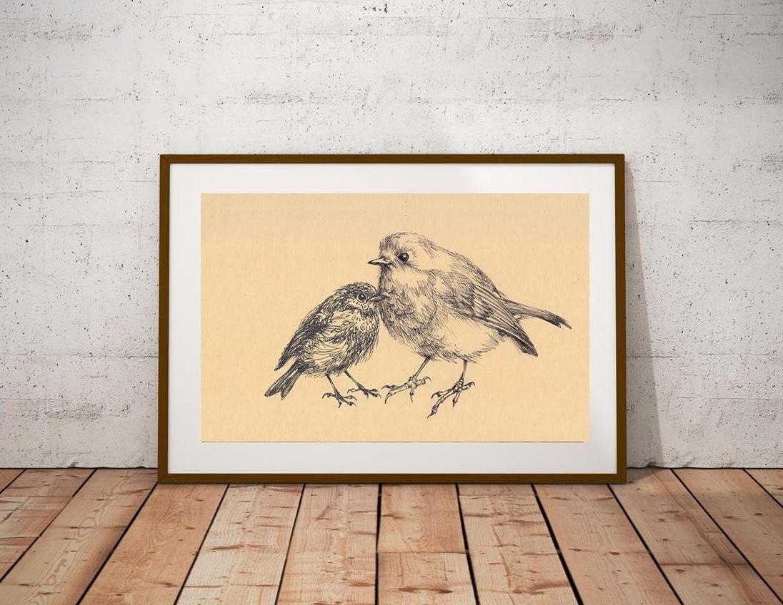 Bird painted nursery art, black and white sketch baby room wall art ...