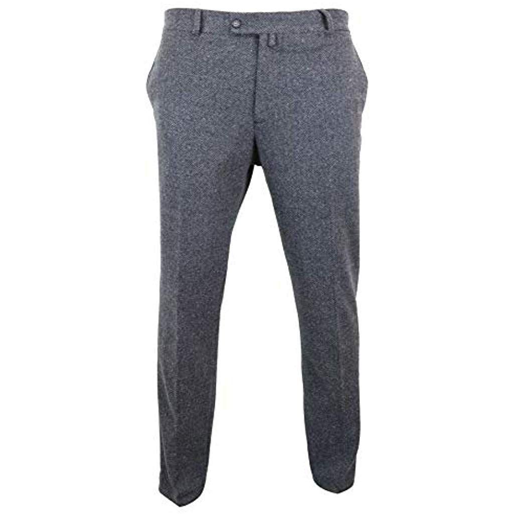 35c6785e372cc TruClothing.com Pantalon Homme Gris Anthracite Tweed à Chevrons en ...