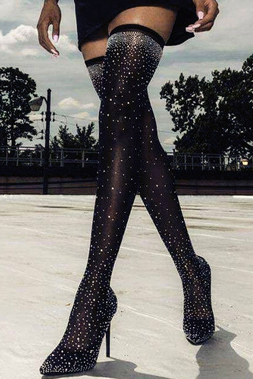 873e1e978a4 Black Rhinestone Stiletto Heel Thigh High Boots in 2019