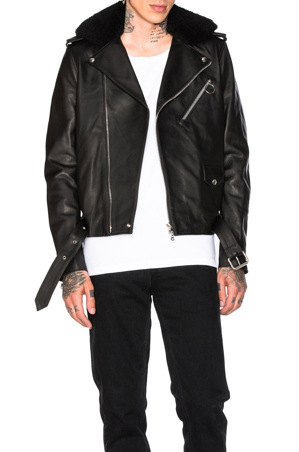 acne leather jacket mens