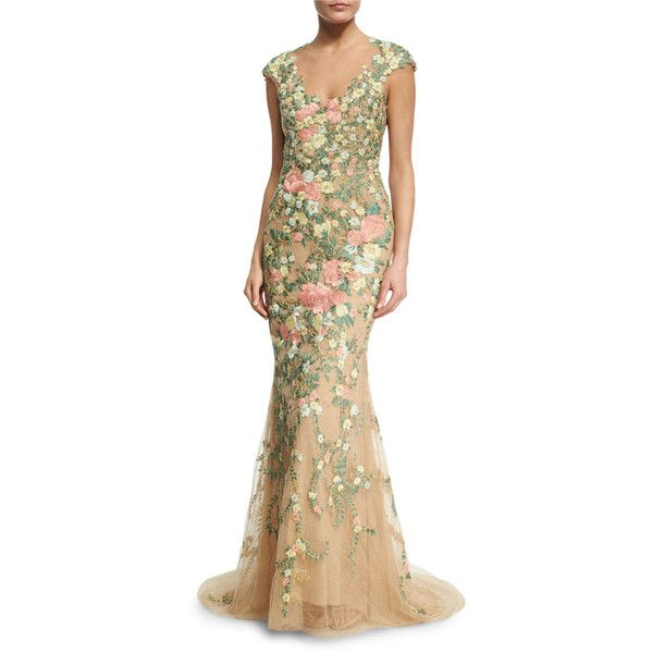Marchesa Embroidered Floral Cap-Sleeve Gown (28,555 ILS) ❤ liked on ...