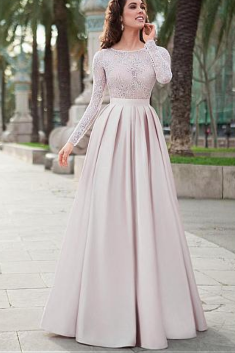 Photo of Lace Prom Dresses,Satin Prom Gown,Long Sleeves Prom Dress,A-…