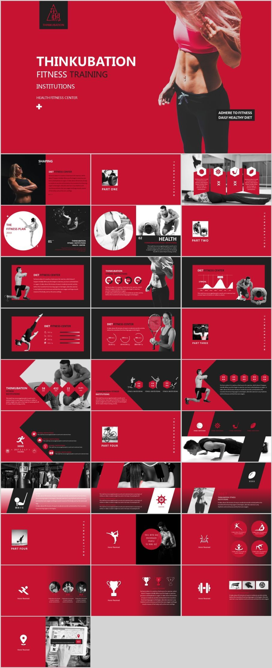 29 best red fitness powerpoint template ppt pinterest