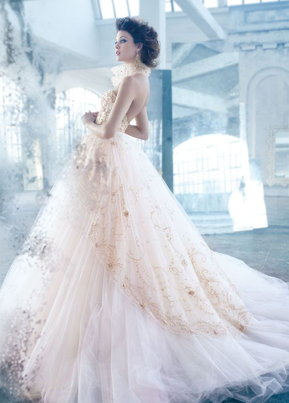 ball gown gold lace