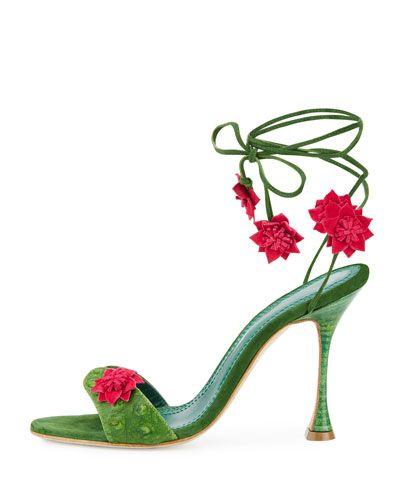 Manolo Blahnik Xacaxtus Ankle-Wrap 100mm Sandal, Green/Fuchsia, $945