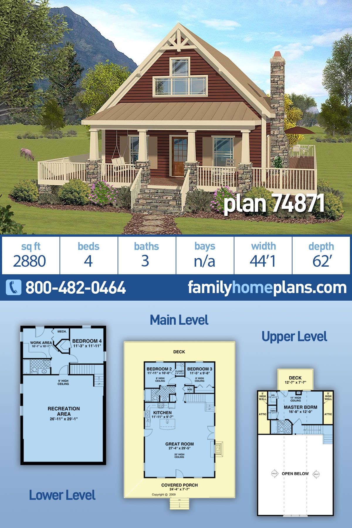 Craftsman Style House Plan 74871 With 4 Bed 3 Bath In 2020 Craftsman Style House Plans Craftsman House Plans Basement House Plans