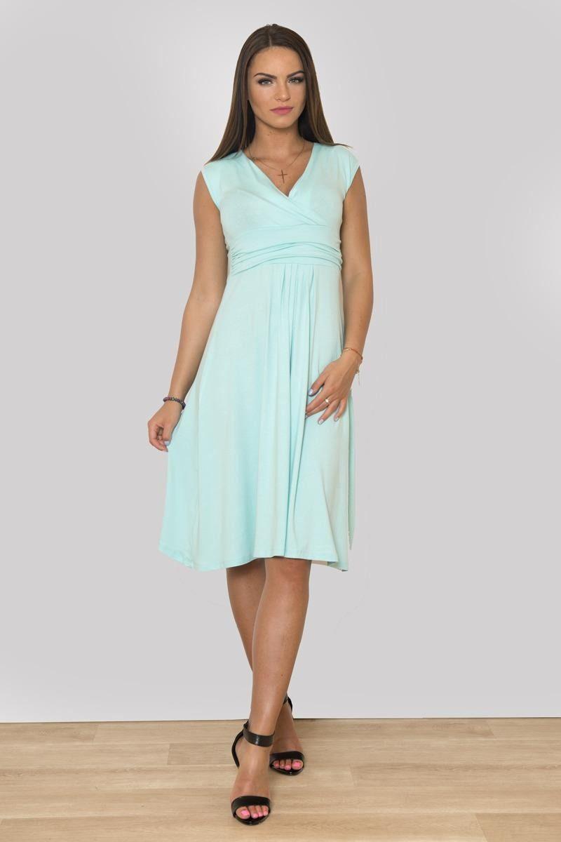75886ceb582d S tímhle uděláte na jaro zaručeně parádu  ) Dámské mentolové šaty pro  štíhlé i plnoštíhlé! Tento model je dostupný až do vel. 48 (4XL).