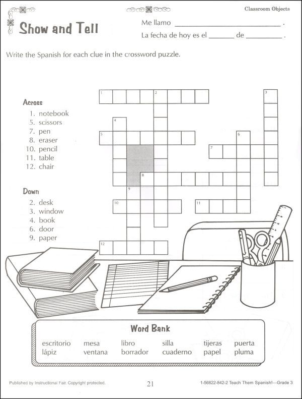 spanish worksheets for kindergarten – Classroom Objects in Spanish Worksheet