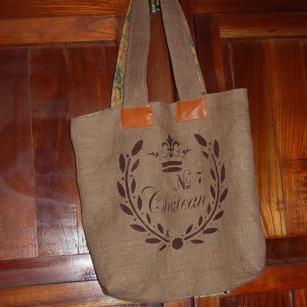 Vintage Style  Burlap Market Tote Bag - Chateau No. 7 by ZazouStyle on Etsy