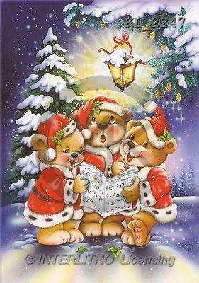 Interlitho, Michele, CHRISTMAS ANIMALS, paintings, 3 bear, singing ...