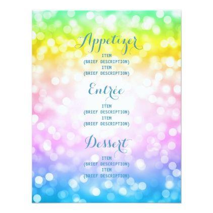 Kids Birthday Party Menu Unicorn Rainbow Invitation Birthday Cards