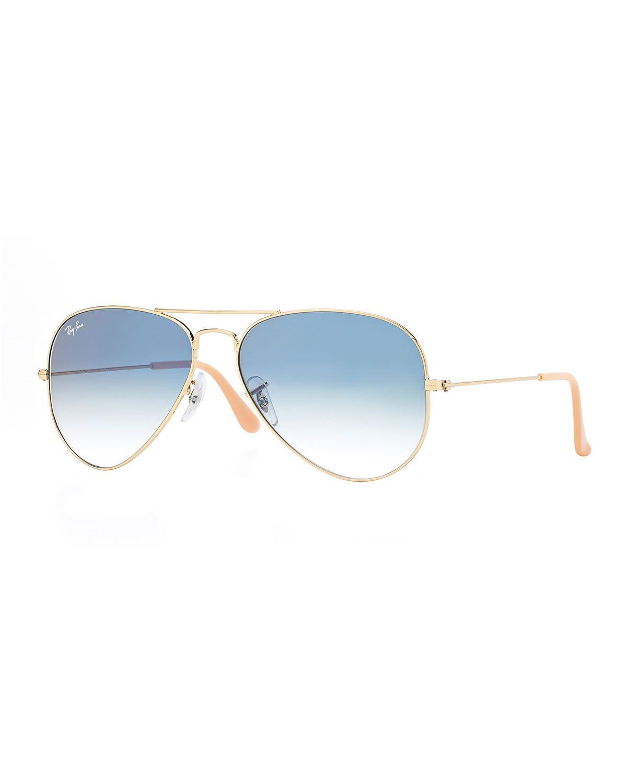 ray ban gold frame wayfarer  Gradient Aviator Sunglasses, Golden/Blue, Size: 62MM, Gold/Blue ...