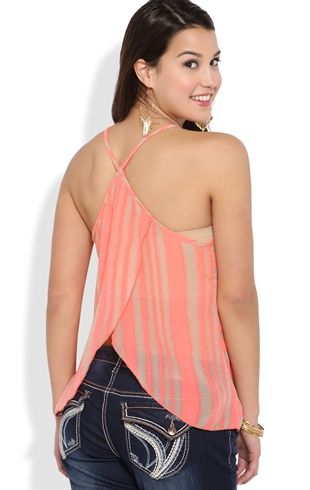 Tank with Blurred Stripe Pattern and Tulip Back