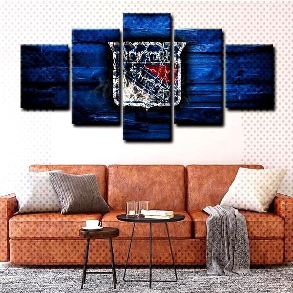 New York Rangers  Emblem All our NHL new york rangers emblem blue wall art is expertly transferred