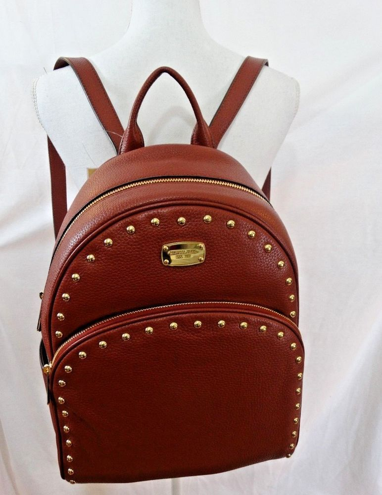 3aed0c0f735a ... australia michael kors leather mk abbey large stud brick color backpack  new with tag michaelkors d8247 ...