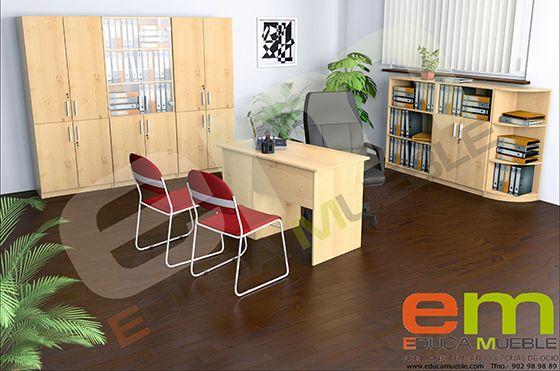 Set de muebles oficina o despacho en arce conjunto for Conjunto muebles oficina