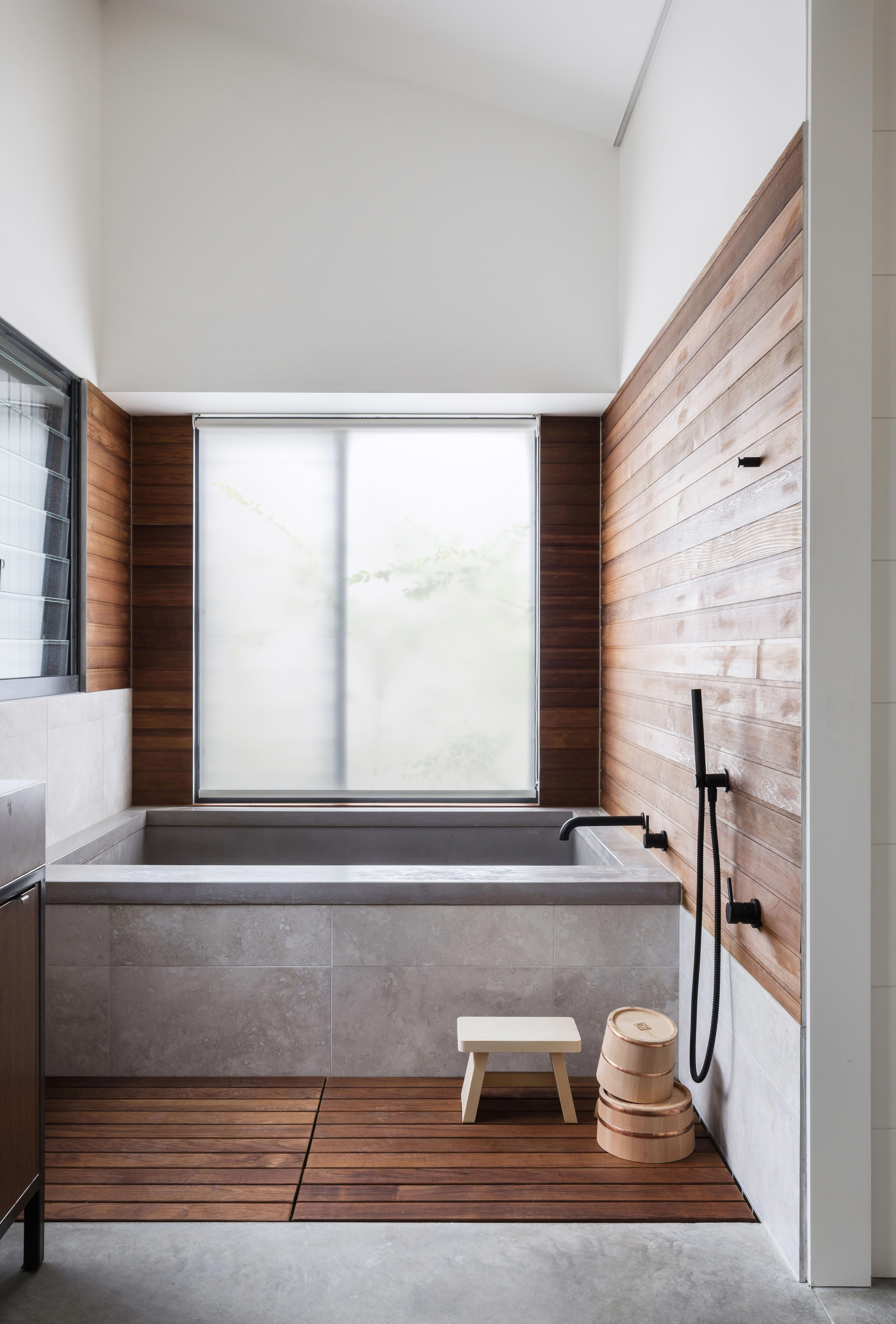 This Japanese Inspired Bathroom At A Home In Orange Features A