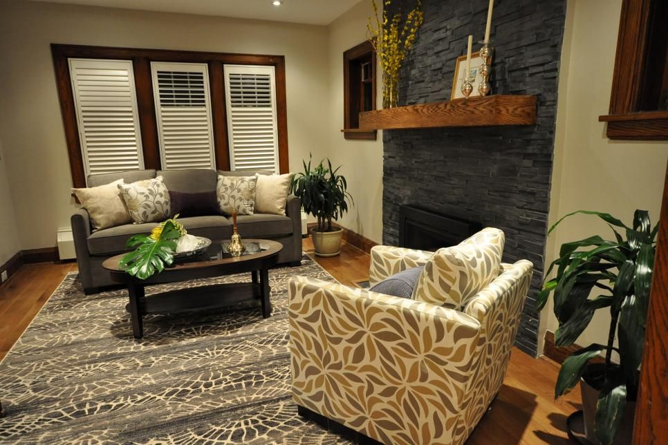Designer Hilary Farr Remakes Rooms Deemed Too Far Gone By Their Homeowners Into Beauti Comfortable Living Rooms Living Room With Fireplace Living Room Makeover