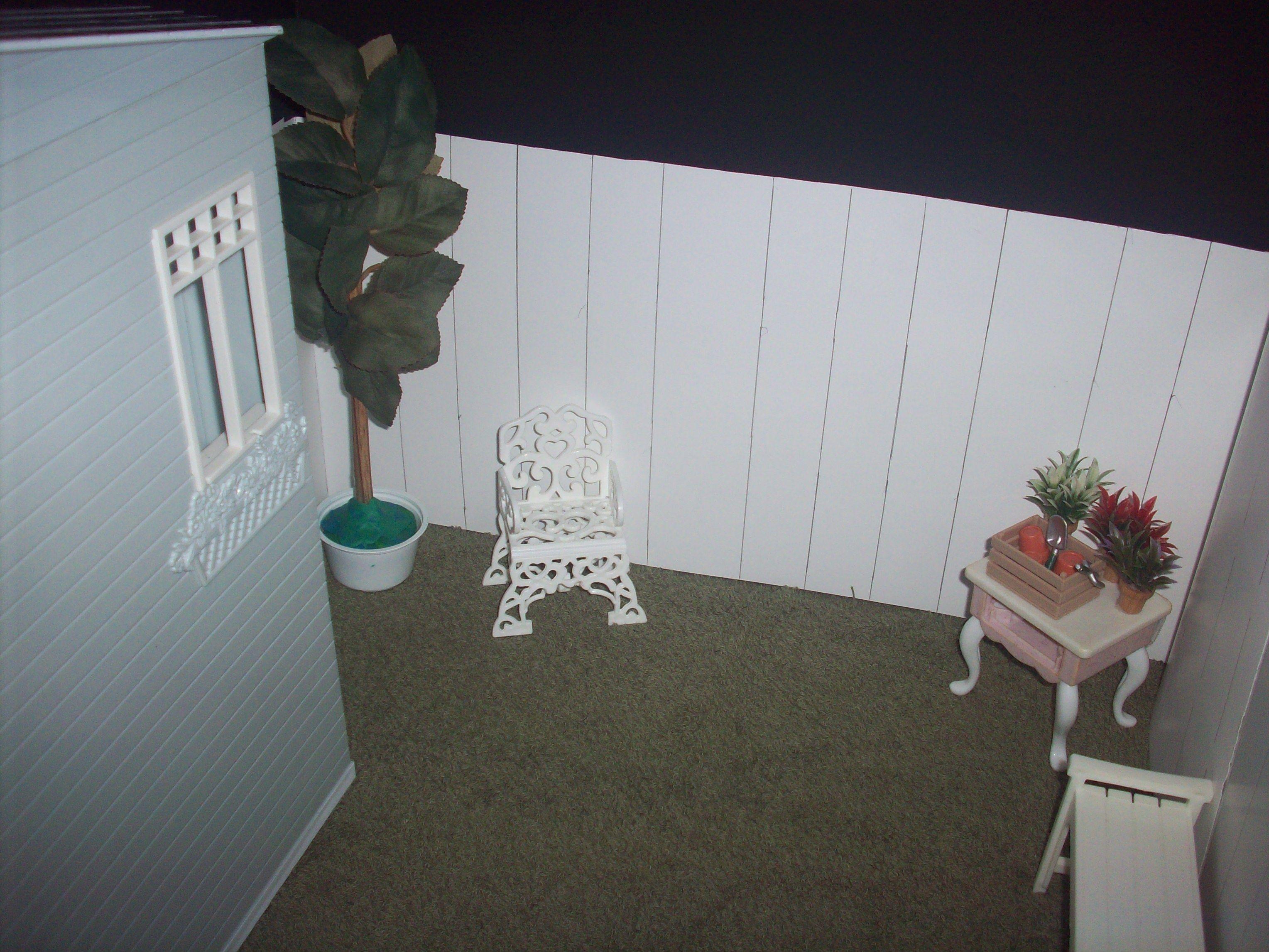 1:6 OOAK dollhouse backyard w/interchangeable night  day background