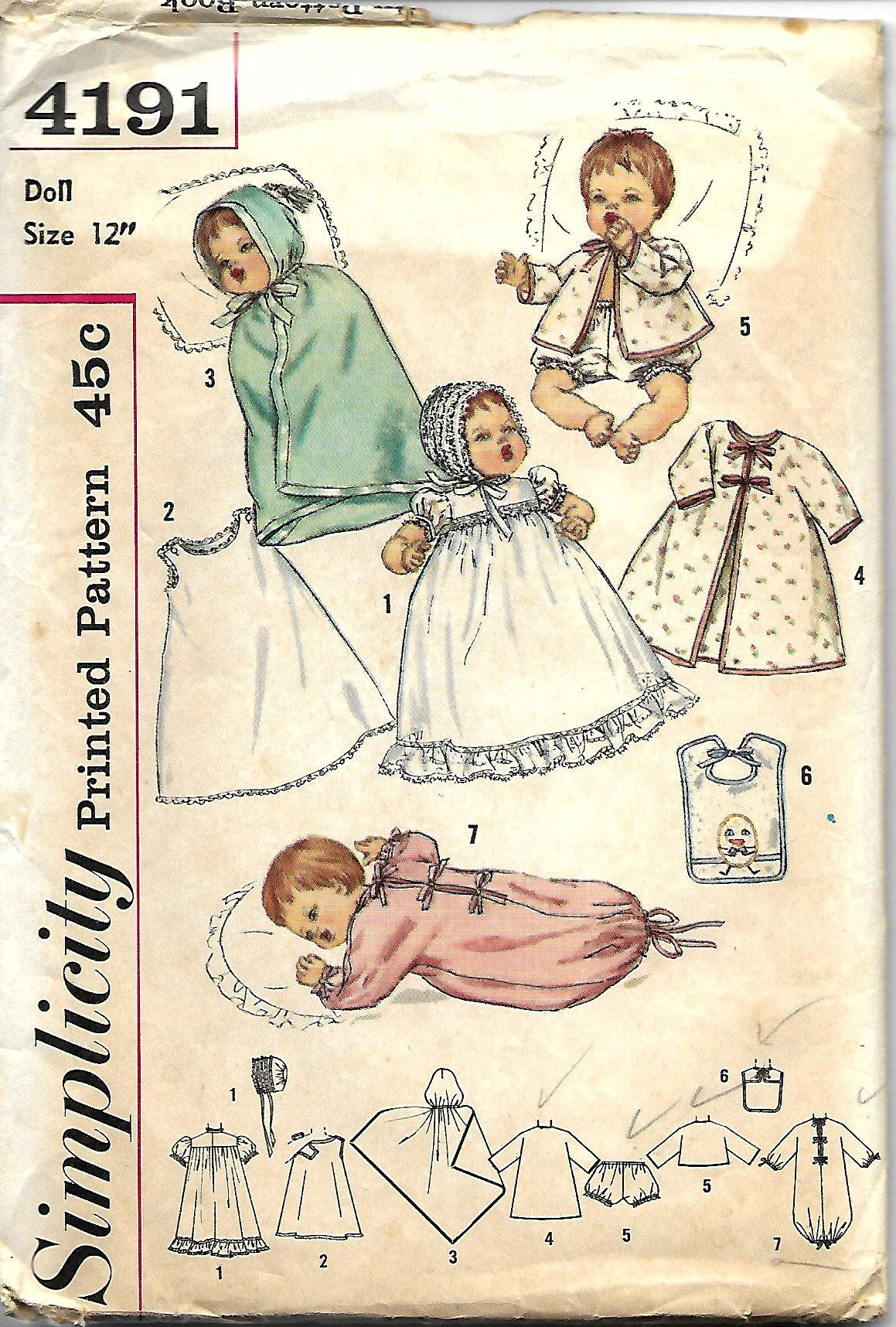 "Tiny Tears Vtg 1950s Doll Clothes Dress Pattern ~ 16/"" Saucy Walker Thumbelina"
