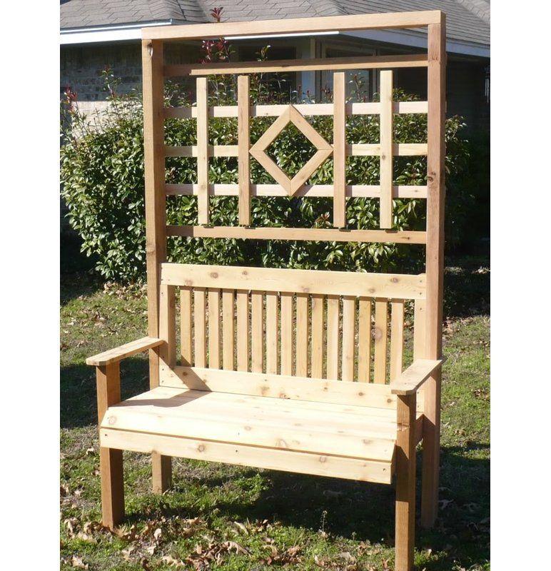 Colby Cedar Trellis Arbor Garden Bench Garden Bench Rustic Cedar Trellis Outdoor Garden Bench