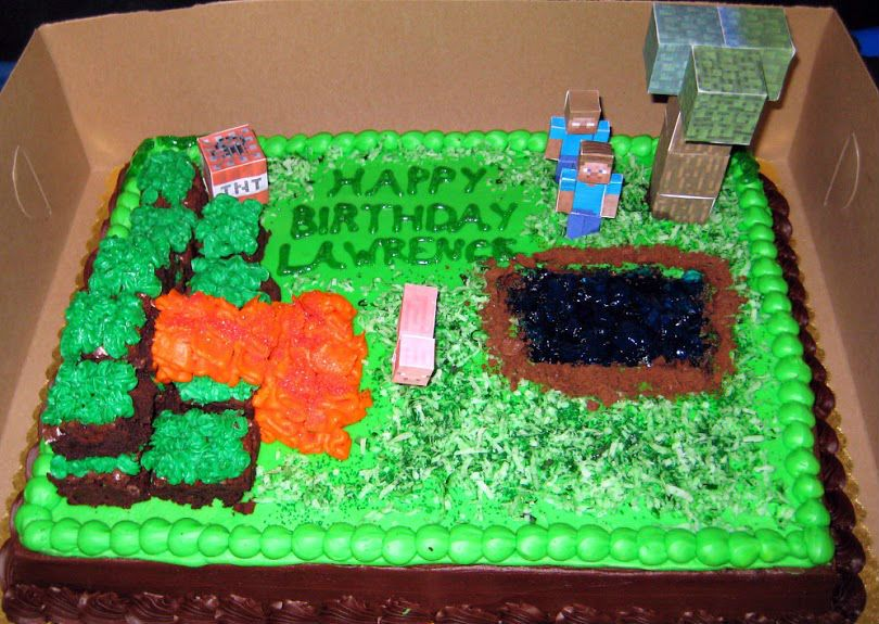 Sensational Easy Minecraft Cake With Images Minecraft Cake Easy Minecraft Funny Birthday Cards Online Fluifree Goldxyz