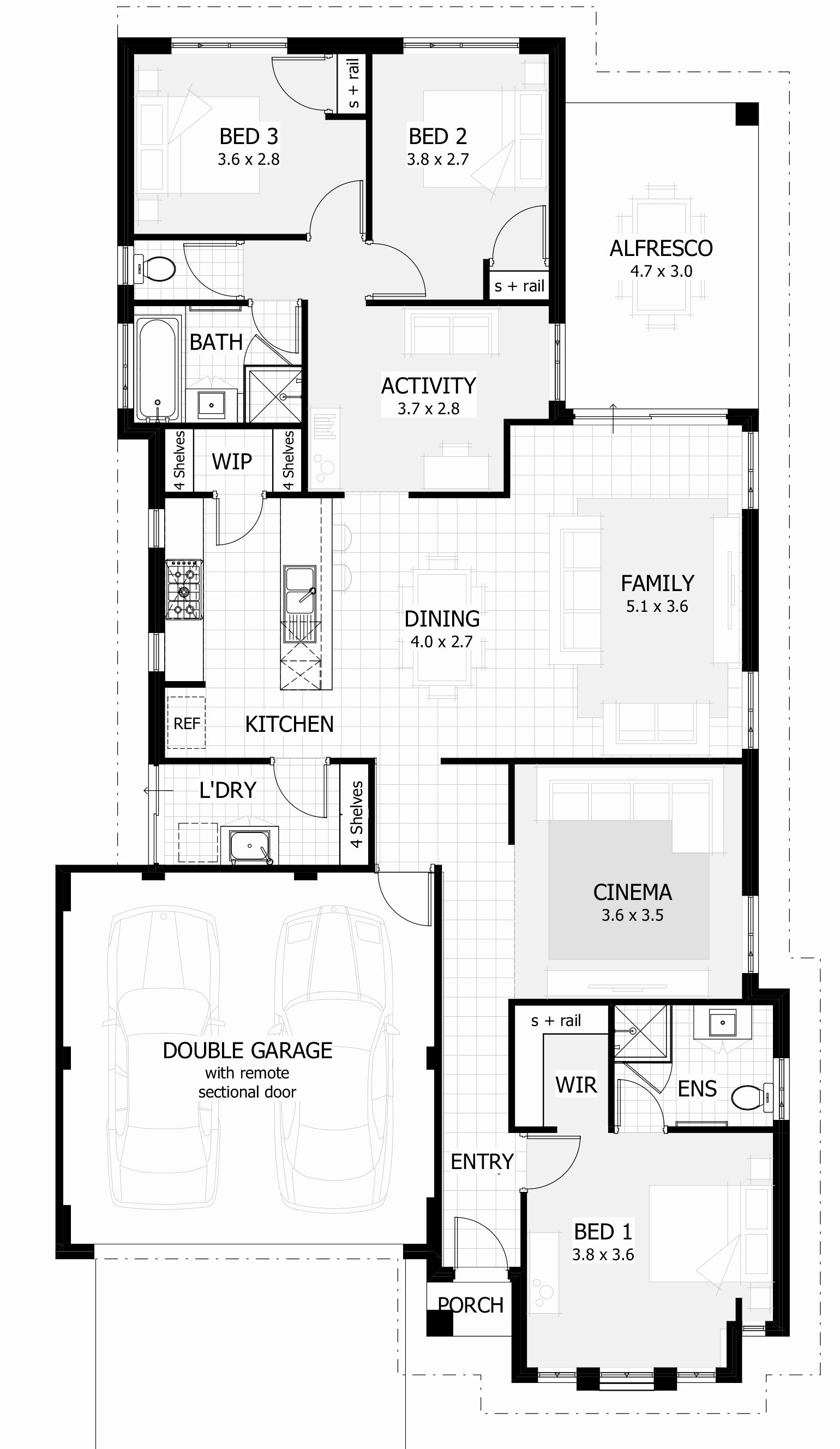 4 bedroom house plans with garage south africa