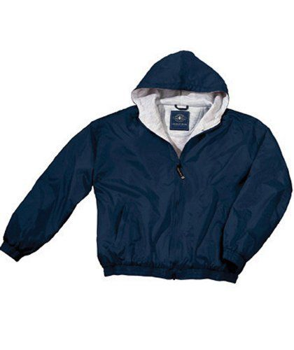 Children's Performer Jacket Size 4, Navy Great all-purpose jacket for school and play. Wind & water-resistant River Tecª Nylon. Heavyweight ash grey sweatshirt lining provides extra warmth. Zippered side pockets and elasticized hood, cuffs & waistband. Children's Sizes 4-7.  #Charles_River_Apparel #Apparel