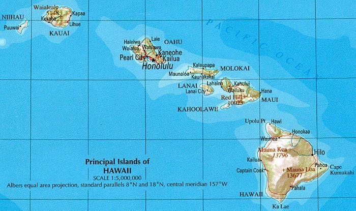 Hawaii Geographische Karte Hawaii Landkarte Auswandern