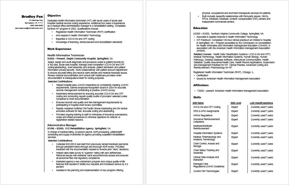 Sample Resume For A Health Information Technician Resume Resume Template Medical Coding