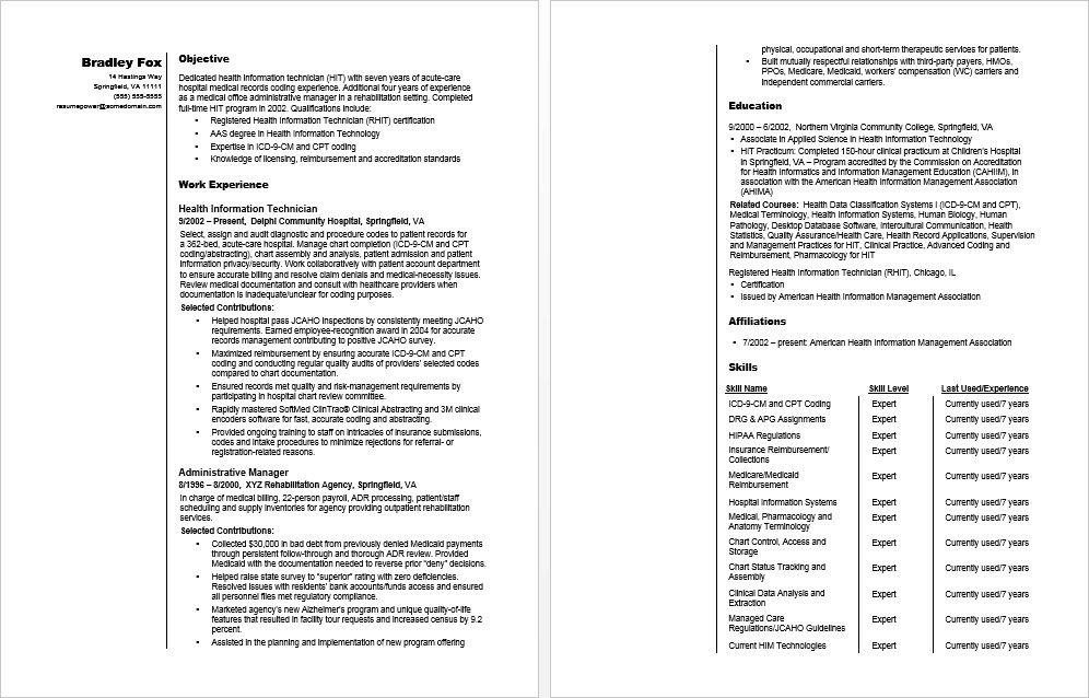 Health Information Technician Sample Resume Monster Com Resume Resume Template Sample Resume