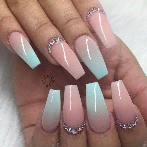 Wonderful Nail Art Trends Of 2018 Coffin Shape Nails Rhinestone Nails Gorgeous Nails
