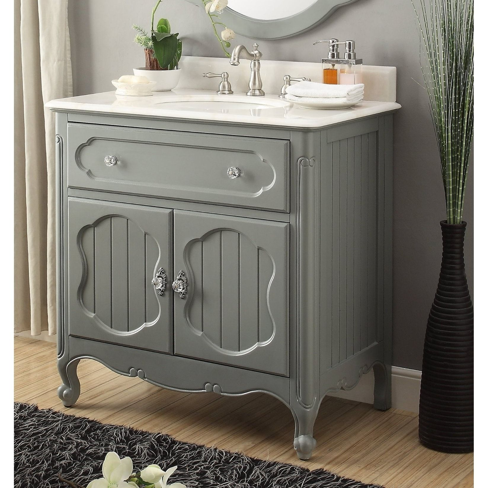 34 Benton Collection Knoxville Victorian Gray Bathroom Sink