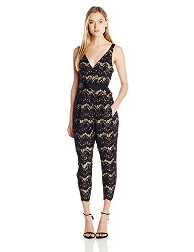 Tracy Reese Womens Lace Applique Jumpsuit Black 0 * More info could be found at the image url.(This is an Amazon affiliate link and I receive a commission for the sales)