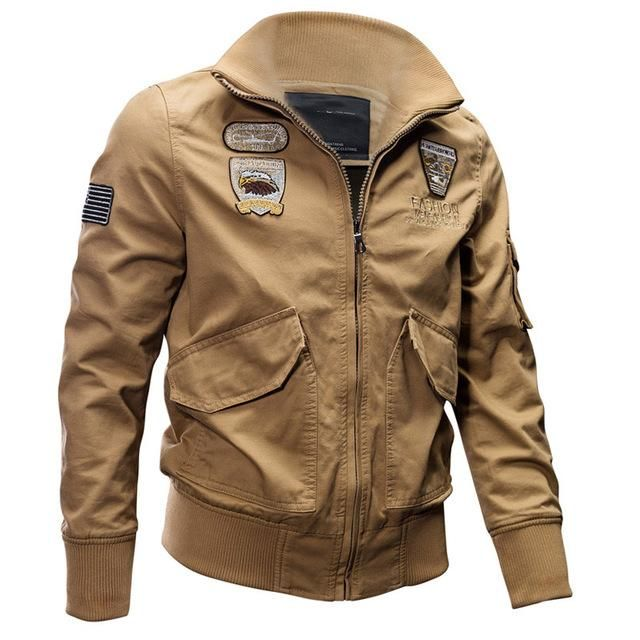 New Mens Flight Bomber Jacket Cotton Cargo Jacket Military Tactical Pilot Coats