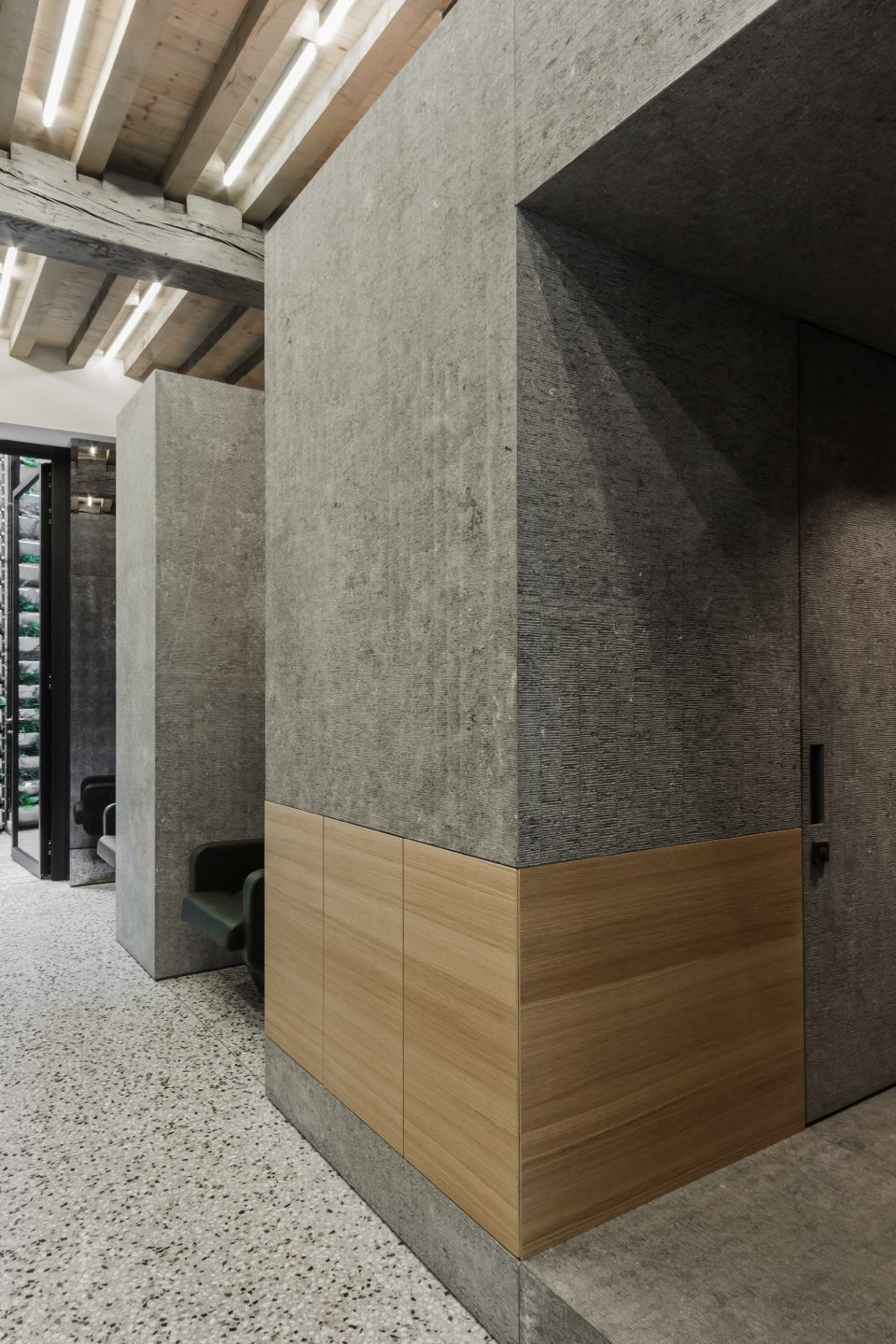 Hair Salon Wall Design Terrazzo Flooring Elevator Lobby