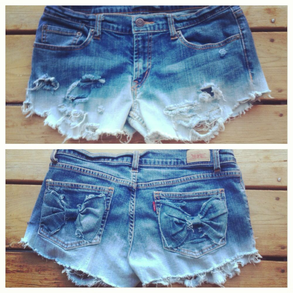 DIY ombre dip bleached jean shorts with back pocket bows ...
