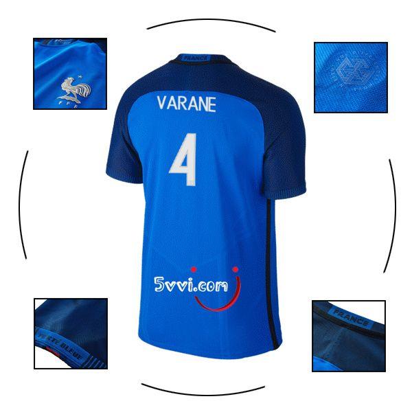 Ensemble football maillot VARANE france domicile 2016 euro bleu personnalisé pas cher