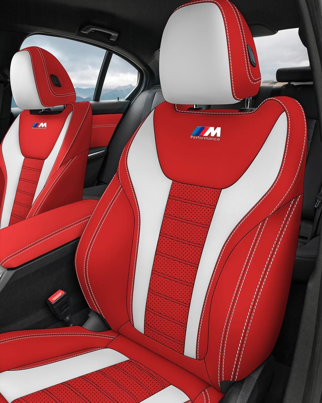 BMW 3 Series Red White Black Custom Interior Console Seats