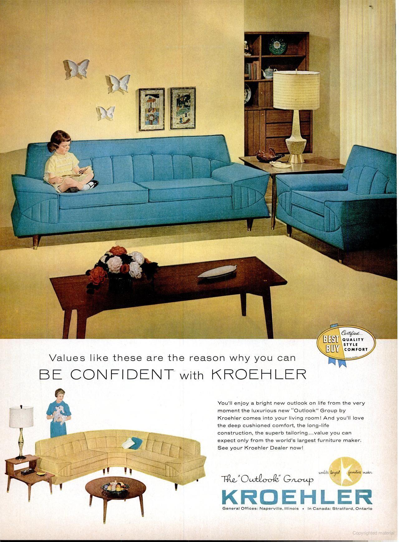 Kroehler Furniture, LIFE Aug 24, 1959 Mid Century Modern Sofa, Living Room  #fifties