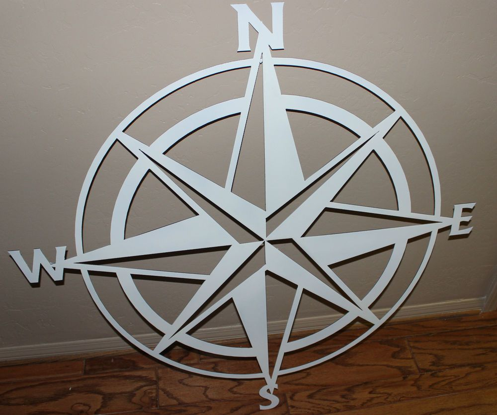 Nautical Compass Rose  Wall Art Decor White Gloss Nautical