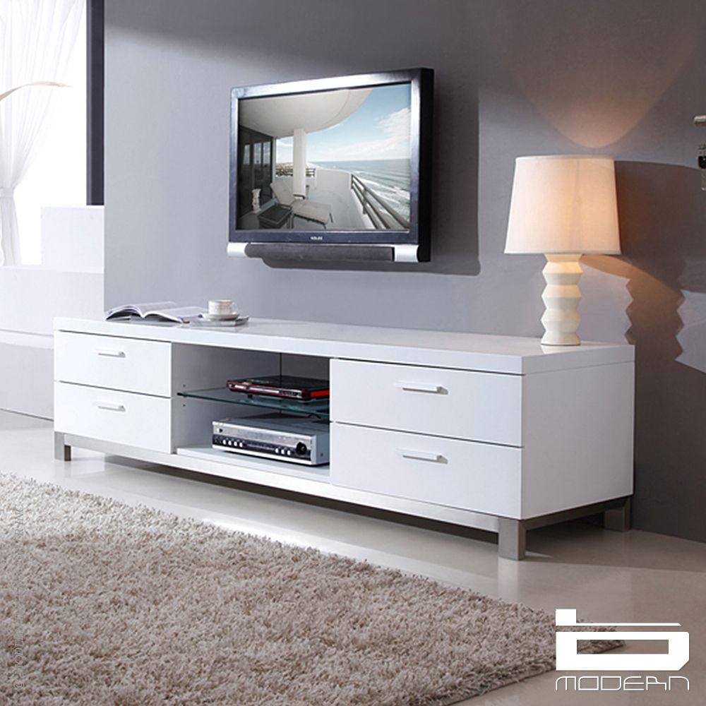 Best Promoter Tv Stand White B Modern In 2020 White Tv 400 x 300