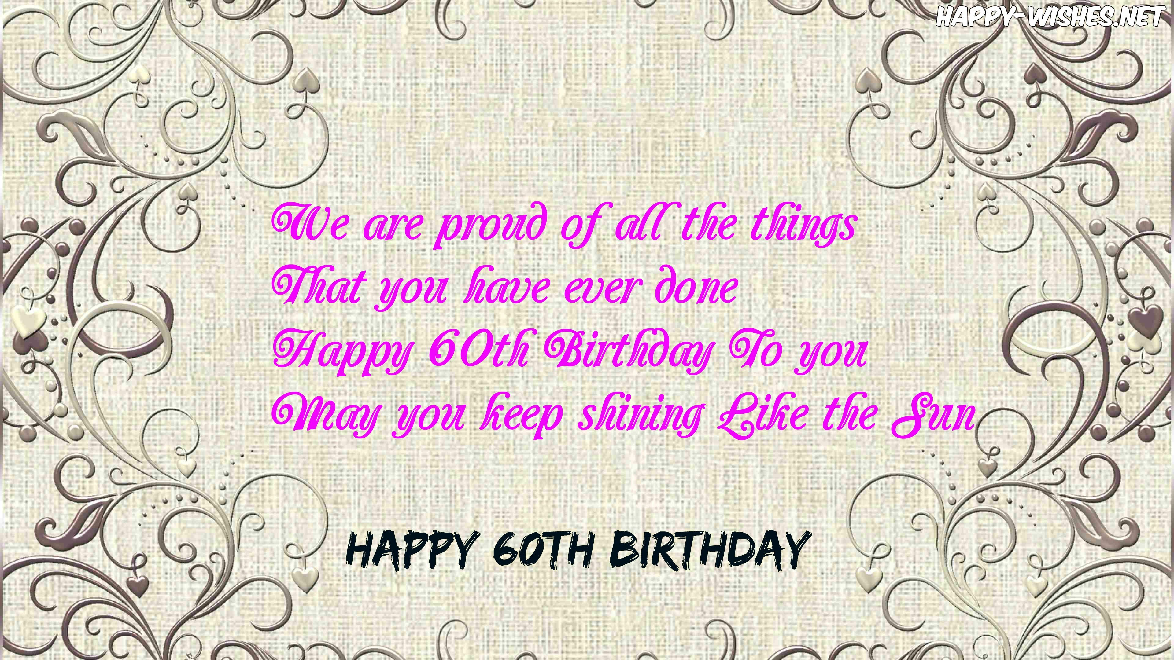 Happy 60th Birthday Wishes Quotes, Messages For 60 Year