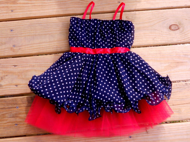 ROCKABILLY Baby dress . Retro style polka-dot dress navy and red