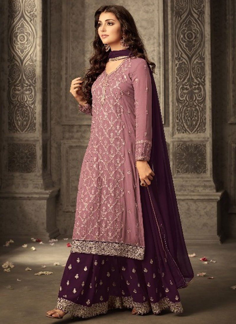 1061ad8f7b Mauve Embroidered Palazzo Suit. Buy Mauve Embroidered Palazzo Suit online  ...