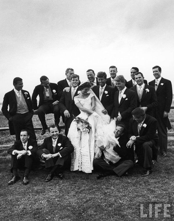 Wedding of jackie and jfk september 12 1953 history class kennedy and his bride jacqueline posing with 14 ushers from their wedding party by lisa larsen junglespirit Gallery