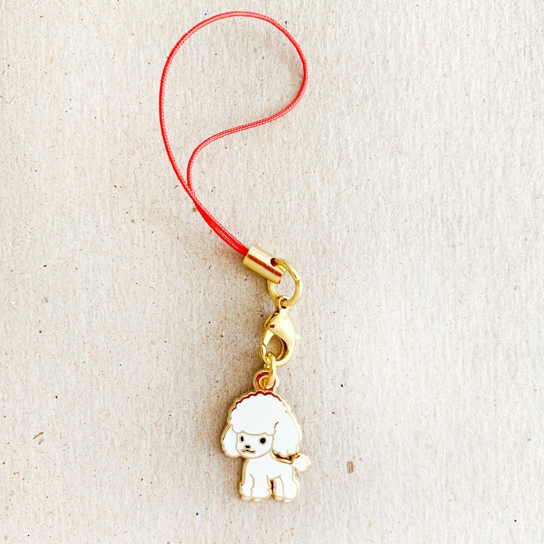Enamel Charm - Standard Poodle Keychain (White)