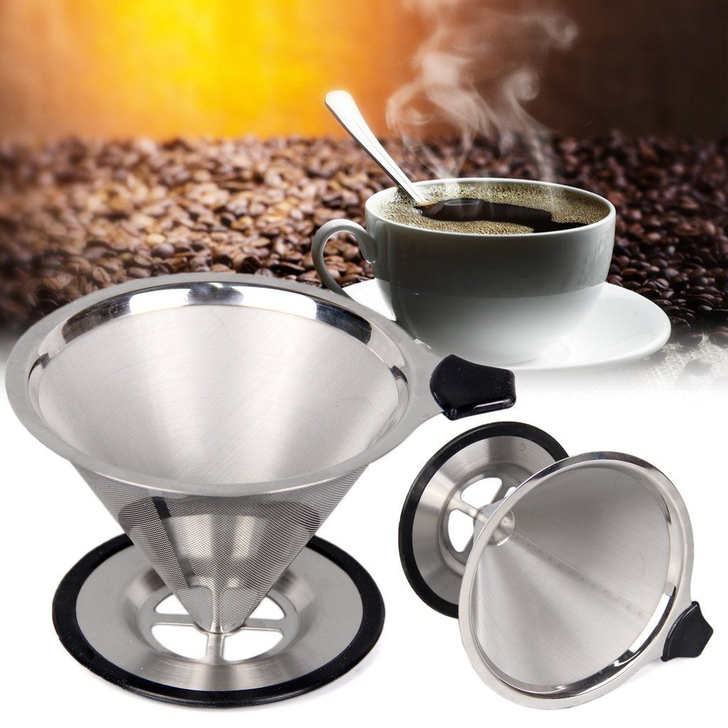 Coffee Dripper Pour Over Filter Stainless Steel Double