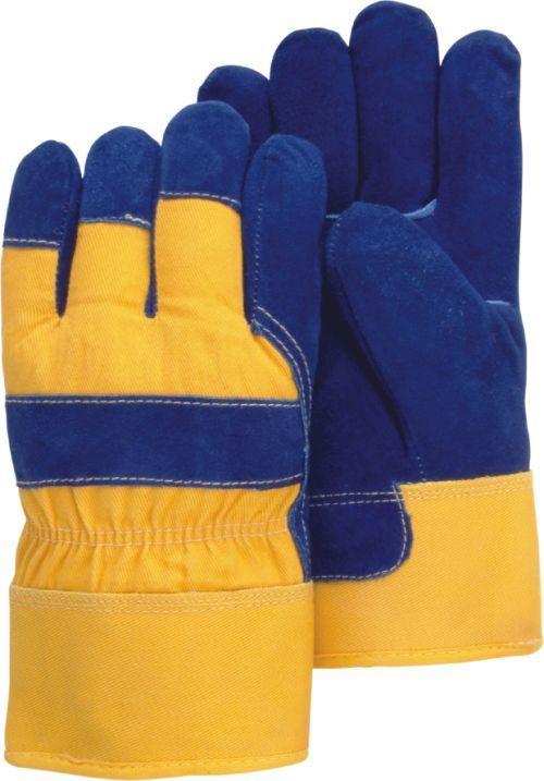 Majestic 1600w Split Cowhide Leather Work Gloves Waterproof Bladder Pile Lined Blue Yellow Dozen Leather Work Gloves Cowhide Leather Work Gloves