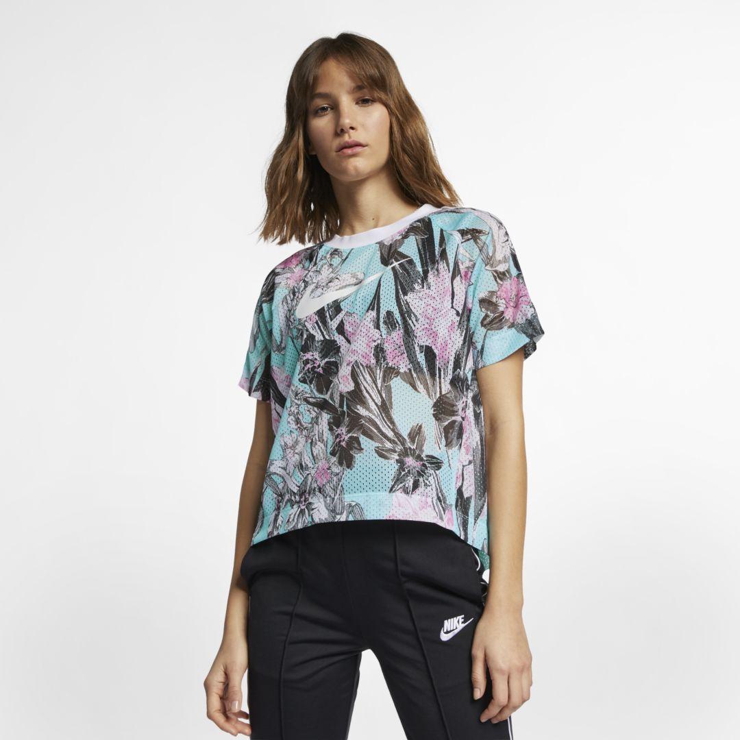 a53dab9d196e72 Nike Sportswear Women s Short-Sleeve Printed Top Size 2XL (Topaz Mist)